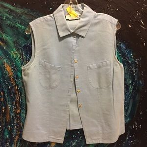 Linen/Cotton Blend Soft Button-down tank top.